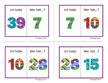 German Numbers up to 50 Zahlen Ich habe ... Wer hat ...? Game - Free