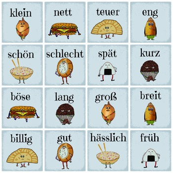 German Opposite Adjectives Memory - Learn the opposites - game - Easy German
