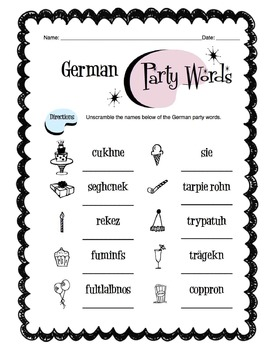 German Party Items Worksheet Packet