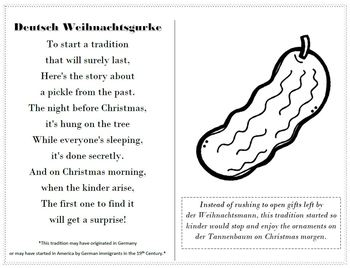 graphic relating to Christmas Pickle Story Printable known as German Pickle Culture