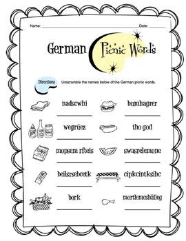 German Picnic Items Worksheet Packet