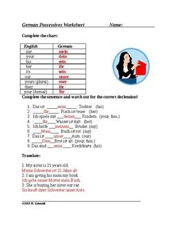 German Possessive Pronouns Worksheet: Possessivpronomen