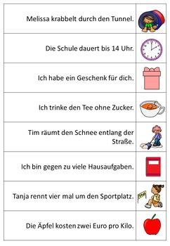 German Prepositions Fluency Strips- Deutsche Präpositionen- Dativ, Akusativ usw.