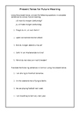 German Present Tense for Future Meaning Worksheet