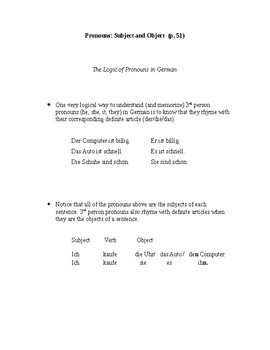 German - Pronouns (Subject and Object)