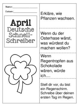 German Quick Writes- Deutsche Übungen zum schreiben üben- April
