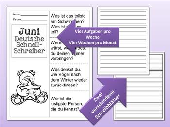 German Quick Writes- Deutsche Übungen zum schreiben üben- Bundle