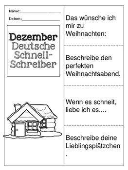 German Quick Writes- Deutsche Übungen zum schreiben üben- Dezember