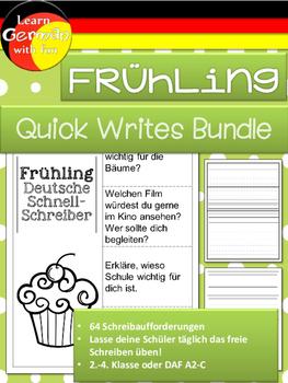 German Quick Writes- Deutsche Übungen zum schreiben üben- Frühling - Bundle
