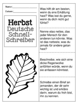 German Quick Writes- Deutsche Übungen zum schreiben üben- Herbst - Bundle