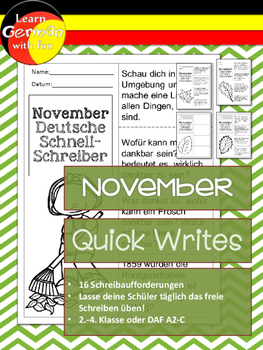 German Quick Writes- Deutsche Übungen zum schreiben üben- November