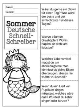 German Quick Writes- Deutsche Übungen zum schreiben üben- Sommer- Bundle