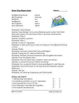 German Reading - Booking a Trip Script - Einen Flug Reservieren