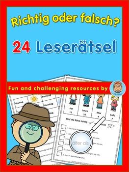 German Reading Challenge  richtig oder falsch? 24 Leserätsel
