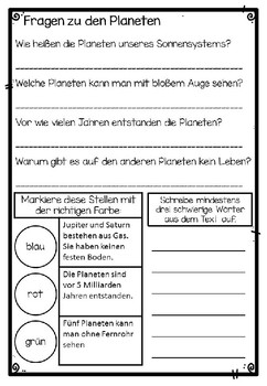 German Reading Comprehension- Deutscher Sachtext- Die Planeten