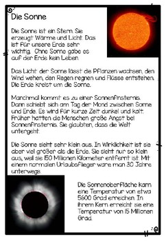 German Reading Comprehension- Deutscher Sachtext- Die Sonne