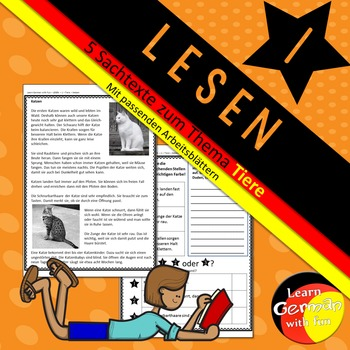 German Reading Comprehension- Deutscher Sachtext- Lesen 1 - Tiere