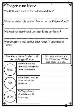 German Reading Comprehension- Deutscher Sachtext- Mond
