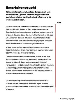 German Reading Comprehension - Cellphone Addiction