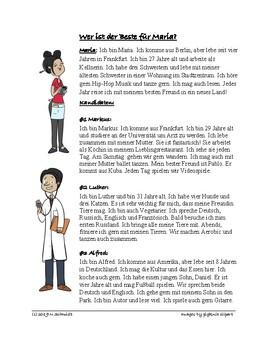 German Fun Reading - Lesung auf Deutsch - Who is the Best Date for Maria?