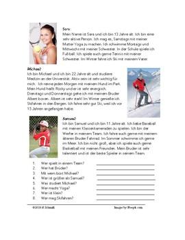 German Beginner Readings - Familie, Schule, Sport - 5 Lesungen!