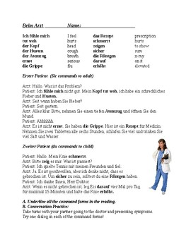 German Reading ~ Seeing a Doctor (Command Forms)