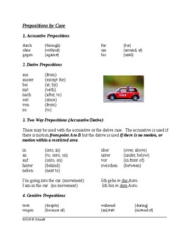 German Reference Sheet - Prepositions by Case (accusative,
