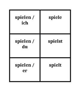 German Regular verbs Present tense Concentration games
