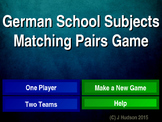 German School Subjects Interactive Matching Pairs Game