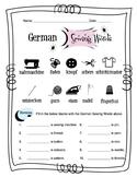 German Sewing Words Worksheet Packet