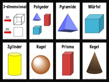 German Shapes Vocabulary Flashcards and Word Wall