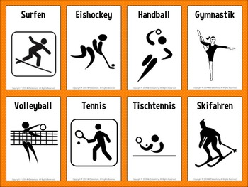 German Sports Vocabulary Flashcards and Word Wall