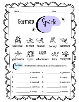 German Sports Worksheet Packet by Sunny Side Up Resources | TpT