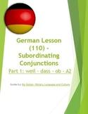 (GERMAN LANGUAGE) German: Subordinating Conjunctions -SET of 3