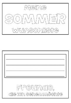 German Summer Flip Book- Deutsche Schreibanlässe - Flipbuch Sommer- DaF