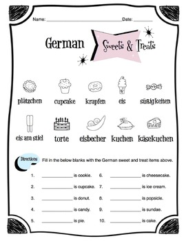 German Sweets & Treats Worksheet Packet