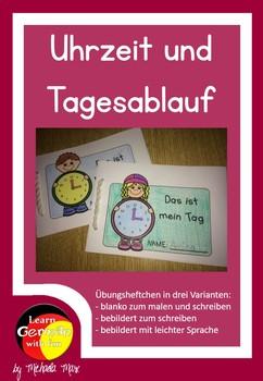 German- Tagesablauf und Uhrzeit Übungsheft