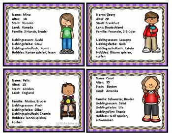German Task Cards - Talking about Friends (Icebreaker)