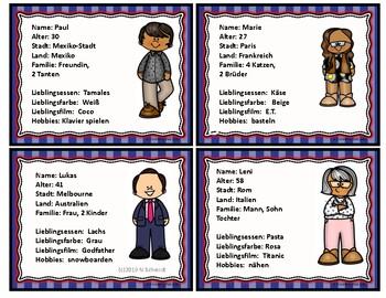 German Character Cards - Talking about Friends (Icebreaker) Bildkarten
