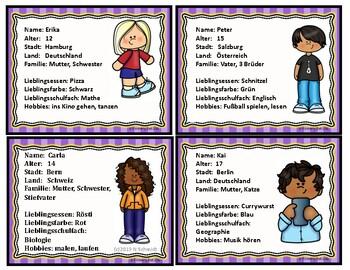 German Task Cards ~ Talking about Friends (Icebreaker)