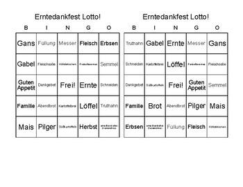 German Thanksgiving Bingo / Deutsch Erntedankfest Lotto - 30 Game Sheets