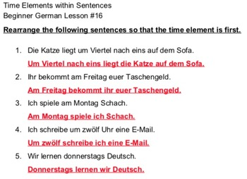 German Time Element Word Order - Beginner German #16