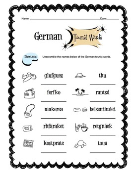 German Tourist Items Worksheet Packet
