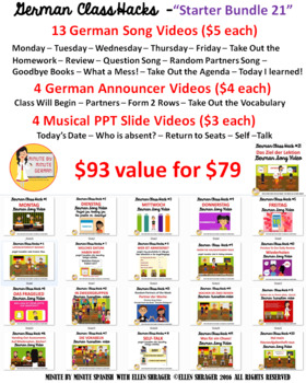 """00A_German Transition Videos """"Bundle of 21"""" for CI, staying on task, and 90% TL"""
