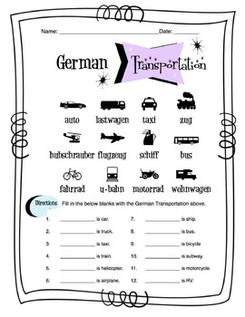 German Transportation Worksheet Packet