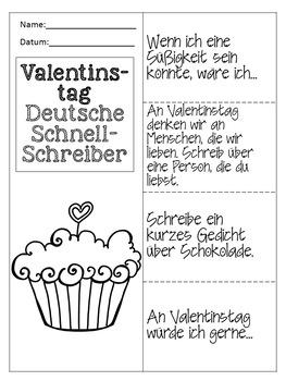 German Valentine Quick Writes- Deutsche Schreibanlässe zum Valentinstag