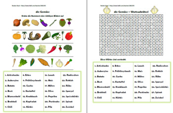 German Vegetables - PowerPoint, Worksheet + Flashcards