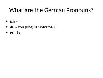 German Verb Conjugations Powerpoint