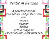German Verbs haben- sein- wohnen- heißen printables and posters