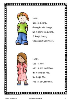 German Vocabulary 2: Me, my family, my friends